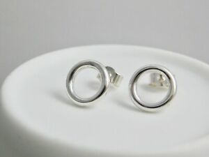 Solid Sterling Silver 925 Open Circular Ear Stud Earrings 10mm - Handmade In UK