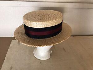 Vintage Original  Knox 'Premier' Men's Straw Boater Hat - Size 7