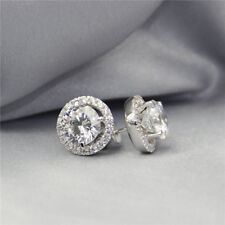 3.22Ct Round Brilliant Moissanite Halo Stud Earrings 14K White Gold Finish