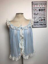 Vintage Women's Victoria's Secret Blue Sheer w/ Lace Cover Robe Shirt SZ M E89