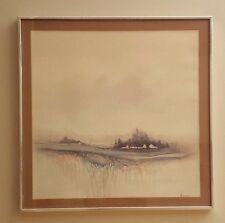 """Ackerman Vintage Set of 2 Matching """"STREAM"""" Watercolor Painting Prints Signed"""