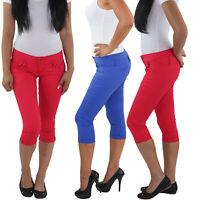 Damen 3/4 Capri Jeans Stretch Kurze Hose Shorts Bemuda Hüft Sommer Rot Blau