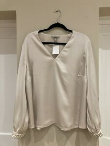 Beautiful Cream Top With Pearly Cuffs. H&M. Size XXL