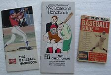"(3) Old Baseball Handbooks:""Atlantic Play Ball"", ""Jimmy The Greek"", ""Miller BB"""