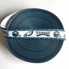"""7/8"""" Philadelphia Eagles Green Border Grosgrain Ribbon by the Yard (Usa Seller)"""