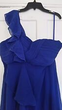 Ever Pretty Women's One Shoulder Navy Ruffles Dress, Size 14
