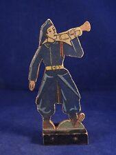 Ancien jouet bois figurine personnage militaire soldat guerre an. 20 trompette