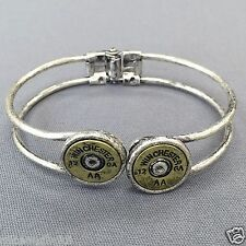 Antique Gold Spring Hinge Bracelet Shotgun Winchester 12 Gauge Fashion Jewelry