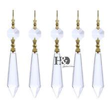25 PCS Gold Pins Crystal Prisms Rainbow Maker Ornament Pendant Drop 55MM