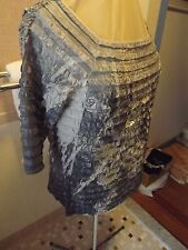 JOHN PAUL RICHARD GRAY RUFFLED TOP SZ LARGE METALLIC SILVER