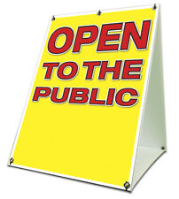 Open To The Public Sidewalk A Frame 18x24 Outdoor Vinyl Retail Sign
