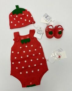 Ettoi baby clothes strawberry body Pink set 3 pieces Size 6-12M #97B