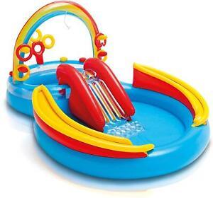 Intex Rainbow Rings Childrens Activity Water Play Centre Paddling Pool Slide