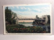Old Chain Bridge Merrimac River Amesbury Newburyport Mass Vintage Postcard 1924