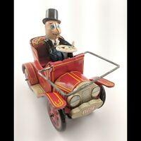 Vintage Yoshiya KO Japan 1782 Crank Mystery Action Jalopy Tin Toy Car w/ Driver