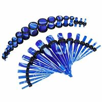 Gauges Set Tapers and Plugs 14G-0G Blue Marble Style Stretching Kit 32-Pieces