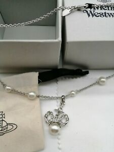 Vivienne Westwood Necklace Silver Tone Orb With Pearls