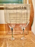 2 Tanqueray Gin Green Stemmed Commemorative Martini Glass - 6 ¾ Tall With Box