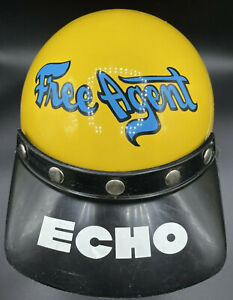 Old School FREE AGENT BMX Helmet Ecko Echo Visor w Haro Blue Mouth Face Gaurd