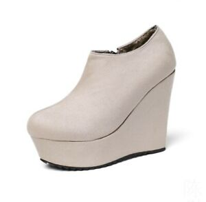 New Women's Round Toe Wedge Heels  Platform Ankle Boots Casual Shoes Gothic Punk