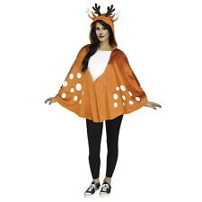 Adult Womens Hooded Cape Bambi Faun Fawn Deer Antler Poncho Halloween Costume