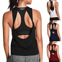 New Women Activewear Sexy Open Back Yoga Shirt Workout Sport Gym Tank Top Blouse
