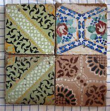 quattro riggiole piastrelle mattonelle maioliche antiche in cotto 20x20 lotto187