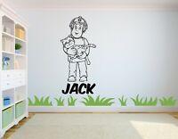 Personalised Fireman Sam Childrens Wall Art Sticker - Kids Bedroom/Playroom -