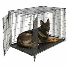 XL Dog Crate | MidWest iCrate Double Door Folding Metal Dog Crate w/ Divider Pan