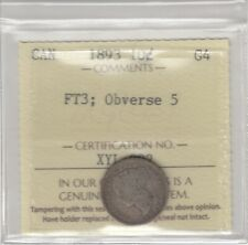 1893 Canada 10 Cents Silver Coin - FT3; Obverse 5 - ICCS Graded G-4