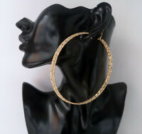 Gorgeous HUGE GOLD tone oversized patterned 3 row hoop earrings - Big FAB HOOPS