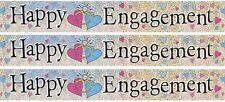 Engagement Silver Foil Banner Party (12ft/3.65cm Long Message Repeats x 3)