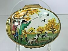 "Vintage Rare Halcyon Enamels England Antique Scene ""The Bird Hunt"" Trinket Box"