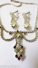 VTG Art Deco Jay Flex Sterling Silver Rhinestones Necklace & Clip Earrings set
