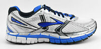 MENS BROOKS ADRENALINE GTS 14 RUNNING SHOES SIZE 8 WHITE BLUE BLACK SILVER