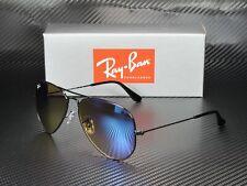 RAY BAN RB3025 002 4O Aviator Large Metal Shiny Black Mirr Blue 55 mm Sunglasses