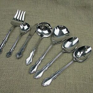 ONEIDA STAINLESS DOVER PATTERN 7 PIECES SERVING FORK SPOON LADLE CASSEROLE SPOON