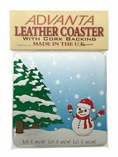 Snow Man Single Leather Photo Coaster Animal Breed Gift, Snow-1SC