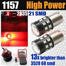 2x 1157 High Power 40W Red Brake Tail Stop Dual Function 21-SMD LED Light Bulbs