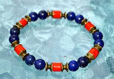 8mm Red Bamboo Coral Lapis Lazuli Wrist Mala Beads
