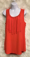ND New Directions Orange Sleeveless Grommet Fringe Top Size L - NWT