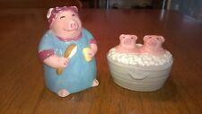 CLAY ART COLLECTIBLE Hogwash 7573 Salt & Pepper Shakers Mama Pig Piglets Washtub