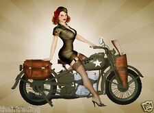 """Vintage Harley Davidson With Pin Up Girl Photo Fridge Magnet 2""""x 3"""" Collectibles"""