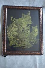 "Original Scratchboard ART 8"" x 10"" Family kit of FOXES"