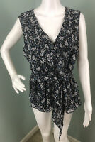 NWT Womens Max Studio Sleeveless Ruffle Floral Tie Waist Peplum Blouse Top Sz XL