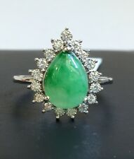 14K Solid White Gold Genius Diamond 0.21 Ct Ring& Natural Pear Jade. Was $2280