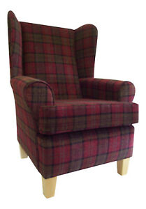 Fireside Wing Back Arm Chair Stunning Burgundy Tartan Fabric