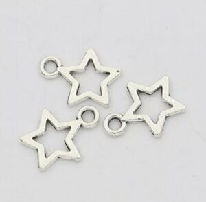 100Psc Star Charm/Pendant Tibetan Antique Silver  Charms Accessory Jewellery