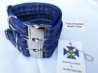 "Dog Collar The Wee Scots Lass Tartan Dog Collar Size Large 18""-22"" Teal Inner"