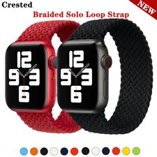 Braided Solo Loop Strap For Apple Watch band 44mm 40mm 38mm 42mm silicone Elasti